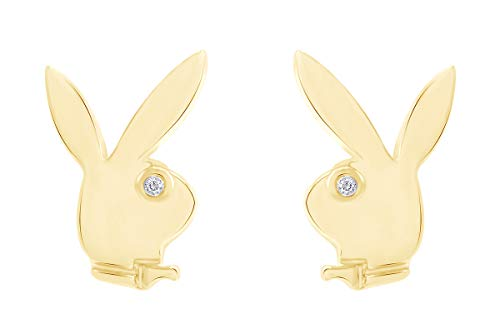 14K Yellow Gold Over Sterling Silver Cubic Zirconia Play Bunny Rabbit Stud Earrings