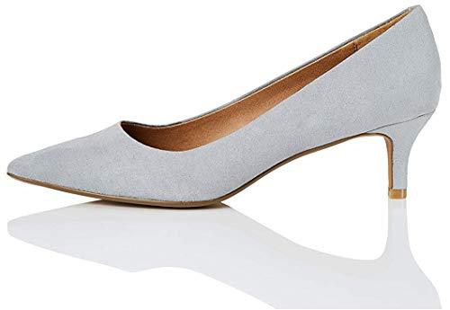 Marca Amazon - find. CONNIE-S2C1-Court Zapatos de tacón con Punta Cerrada, Gris, 37 EU