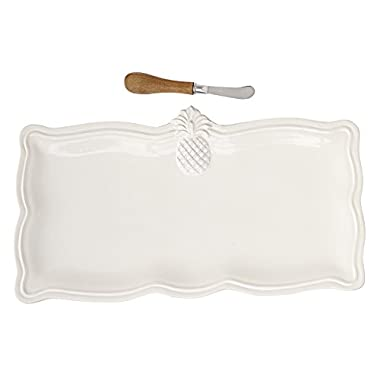 Mud Pie Pineapple Hostess Serving Tray Set, White