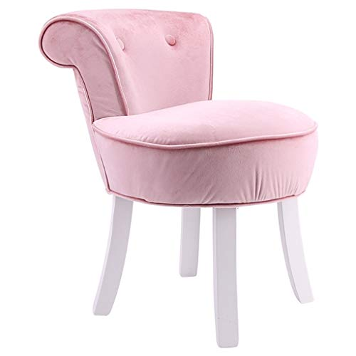 ZHIQ Vanity Dressing Table Stool High Back Makeup Vanity Stool Chair Bedroom Chair Stool Wood Legs Velvet/Cloth