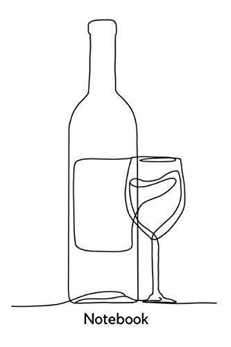 Notebook: DIN A5 Lineart Minimalistisch Wein Weinflasche Notizheft   110 Seiten liniertes Notizbuch   schöne Geschenkidee für Kollegen, Freunde, Familie