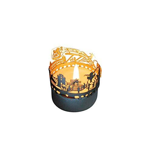 13gramm Wuppertal-Skyline Windlicht Schattenspiel Souvenir, 3D Edelstahl Aufsatz für Kerze inkl. Karte
