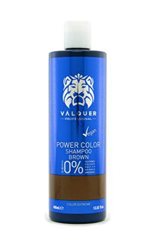 Valquer Profesional Champú Power Color cabellos teñidos. Vegano Y Sin Sulfatos (Cabello castaño). Potenciador color cabello - 400 ml.