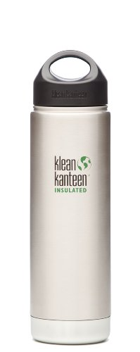 Klean Kanteen Wide Mouth Double Wall Insulated Water Bottle with Loop Cap, Stainless Steel, 16-Ounce