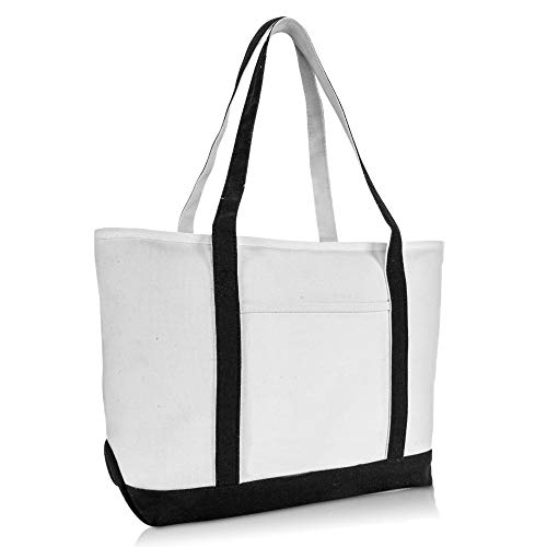 DALIX 23' Premium 24 oz. Cotton Canvas Shopping Tote Bag in Black