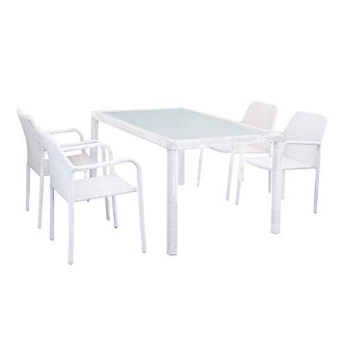 Milani Home s.r.l.s. Set Tavolo Giardino 150 X 90 con 4 Poltrone Piano in Vetro Intreccio in Rattan Sintetico Bianco per Esterno