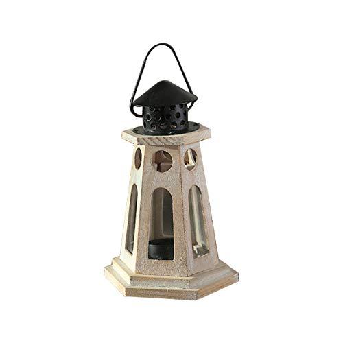 TentHome Retro Holz Laterne Landhaus Garten Windlicht für draußen Gartenlaterne Holzlaterne Kerzenhalter Glaslaterne Tischdeko (Leuchtturm)