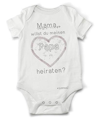 Sunnywall Mama willst du Meinen Papa heiraten? | Baby Body Strampler Bodysuite 100% Bio Baumwolle Unisex Größe 06/12 Monate (74)