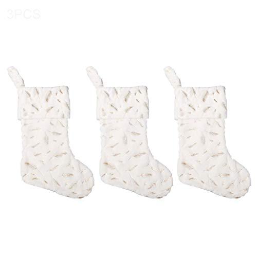 WOWOWO 3 Piezas calcetín de Navidad imitación Piel de Conejo Pluma Bolsa de Dulces Colgante Chimenea