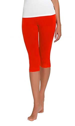FUNGO Leggings Für Damen 3/4 Länge Capri Damen Sporthose Bunte Yoga Leggins (36, Rot)