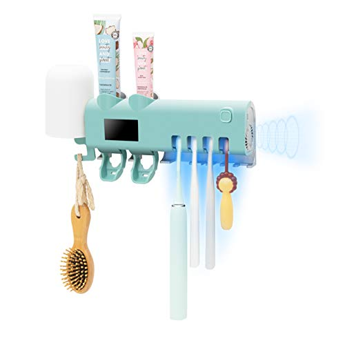 SHUKAN Toothbrush Hodler with 2 Toothpaste Dispenser, Bathroom Toothbrush Holder Wall Mounted with Function, 2000mAh Charging, Toothbrush Organizer for Ladies Baby Family(Blue)