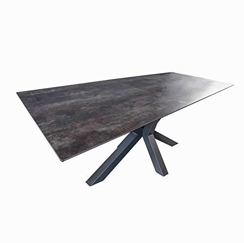 Invicta Interior Moderner Keramik Esstisch Eternity 180-225cm Lava ausziehbar Konferenztisch Küchentisch Tisch
