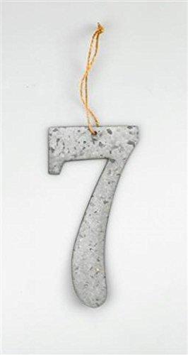 Grande numéro 7 en métal argenté à suspendre