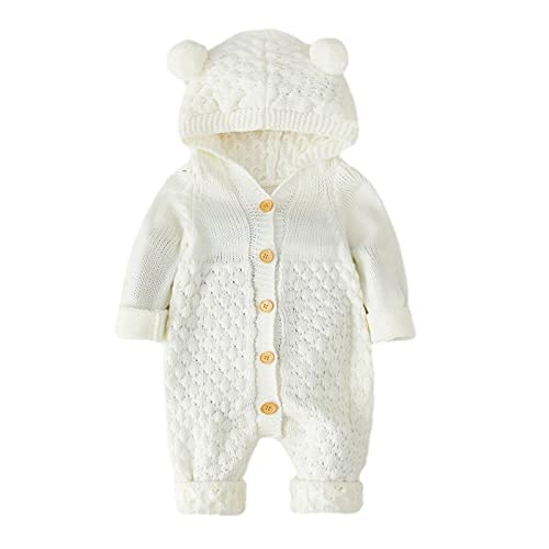 PlayMate Girls Outfits&Set Baby Boy Girl Sweater Toddler Long Sleeve Cartoon 3D Bear Ear Knit Hoodies Cardigan Outerwear (White, Recommended Age:3-6 Months)