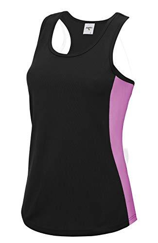 Roughtex Lauftop Damen Fun Shirt Läuft | Funktionsshirt für Jogging Fitness | Sprüche Shirts Schwarz-Pink blanko S