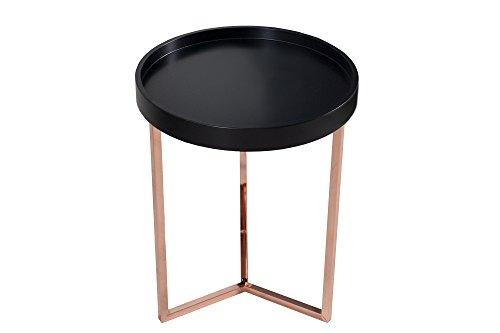 DuNord Triton 40 cm Designer bijzettafel salontafel zwart koper retro design lade tafel