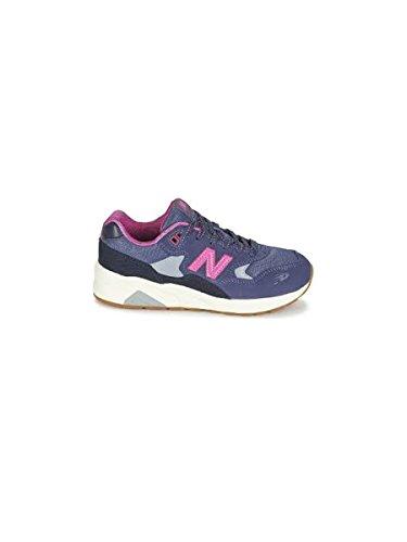 New Balance 580 Scarpe Bambina Ragazza KL580WPP Sneaker Lacci Grigio Rosa Fucsia