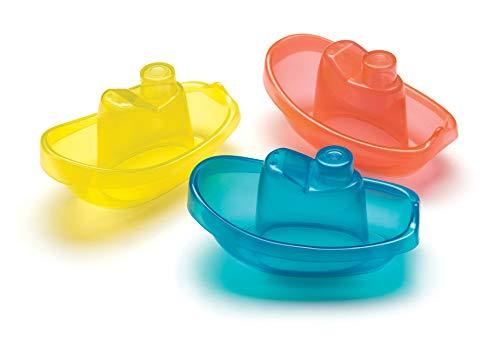 Playgro Barquitos Flotantes, 3 Piezas, Sin BPA, Desde los 6 Meses, Bright Baby Boats, Azul/Rojo/Amarillo, 40146