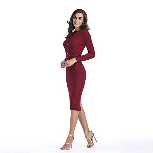 Meisjesjurken Dames Trui Gebreide jurk Ceintuur elastische taille Lange mouw Bodyconjurken Sexy slanke wikkeljurk