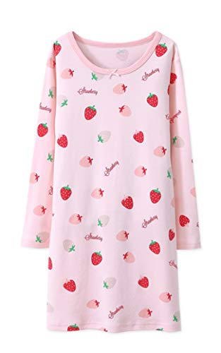HOYMN Nachthemden für Mädchen Prinzessin Lange Ärmel Kinder Sleep Shirts Obst Erdbeere Lässige Schlafanzüge für 3-12 Jahre
