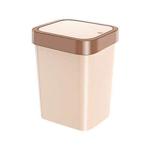 NYKK Cubos de Basura para Exterior Manual de residuos de la Basura de la Tapa de la Primavera con Tapa, Papelera, Bolsa de Basura Disponible, Sello rápido 11L (marrón) Basurero Reciclaje
