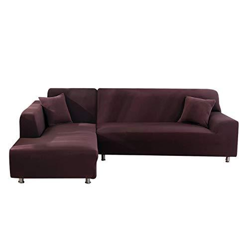 Jian Ya Na - Copridivano estensibile, copridivano angolare, in poliestere, estensibile per divano a L + 2 copricuscini, Tessuto, Café Noir, 2 Place + 2 Place