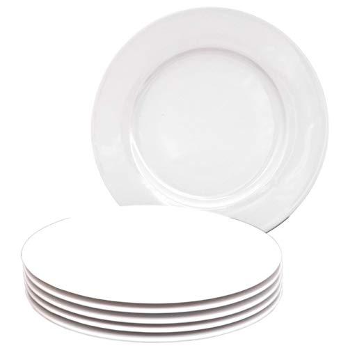 Kahla 39F190A90039C Aronda Porzellangeschirr für 6 Personen Tellerset 6-teilig Kuchenteller Dessertteller 21 cm rund weiß ohne Dekor kleine Snackteller