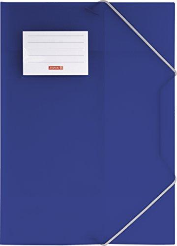 Brunnen 104160430 Sammelmappe FACT!pp (A4, transluzente PP-Folie, mit Gummizug, mit Namensschild) blau