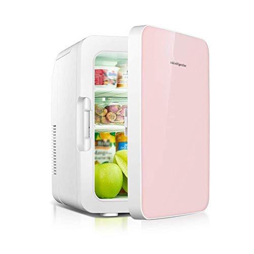 TETHYSUN Mini Fridge Refrigeradores de Bebidas Refrigerador de 10 litros Mini refrigerador y Calentador: Sistema termoeléctrico portátil AC/DC con opción Portable USB/DC Power Bank (Color : Pink)