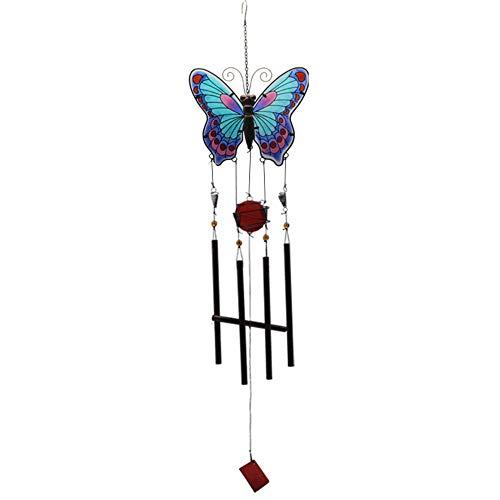 Haihf Windspel, grote vlinder glas geschilderd windspel metalen klokken handwerk ornamenten mooie creatieve geschenken