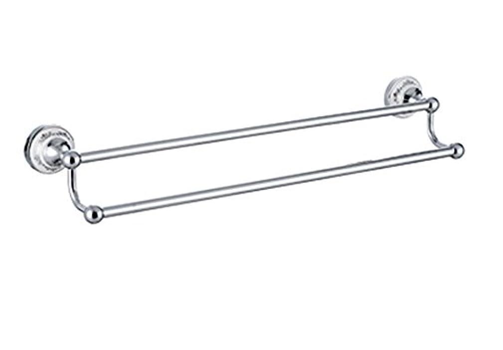 乱暴な返還結婚式ホルダー付きダブルタオルバー真鍮製クロームシルバー仕上げwithシルバーgray-and-white磁器パターン# ql99