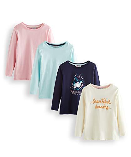 Amazon-Marke: RED WAGON Mädchen Langarmshirt Graphic, Mehrfarbig (Rosa,Blau,Schwarz,Weiß), 140, Label:10 Years