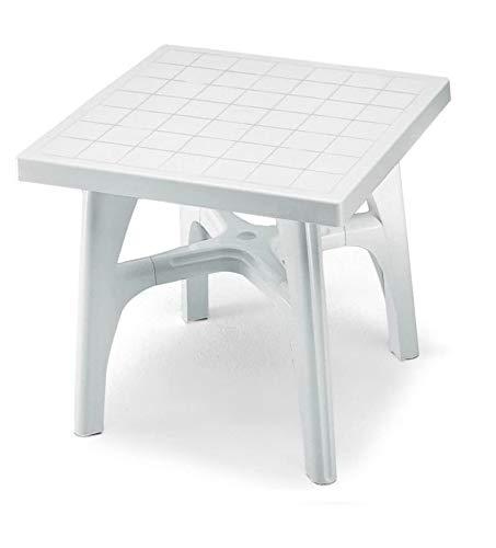 ALTIGASI Table Blanc pour Extérieur quadromax en résine Mesure 80 x 80 cm – avec Un Pied Ajustable – Fabriqué en Italie