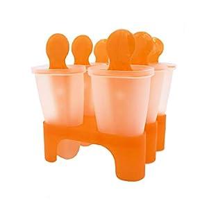 Bemomo Ice Lolly - Moldes reutilizables para hacer helados y polos, los niños prefieren Pop Molds Ice Lolly Makers como base | maravilloso regalo en verde o naranja (color al azar en entrega)