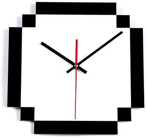 NIUMM Wanduhr Quadratische Moderne Solide Weiße Wanduhr Acryl Elektronische Wanduhren Home Decor DIY Office Acryluhr Hängende Nadeluhr Silent Easy to Read