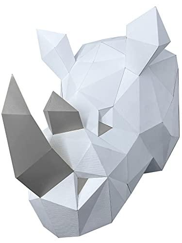 Oh Glam Home Kit DIY Rinoceronte de Pared Papercraft Kit Cartón 3D Escultura Origami 3D Puzzle 3D Decoración niños PRECORTADO (Blanco y Plata)
