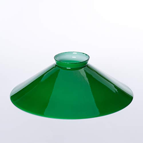 Lampenschirm Glasschirm Schusterschirm grün glänzend viele Größen mit Rand f.E27 Glas 20cm 25cm 30cm beige Schirm Leuchtenglas (250mm)