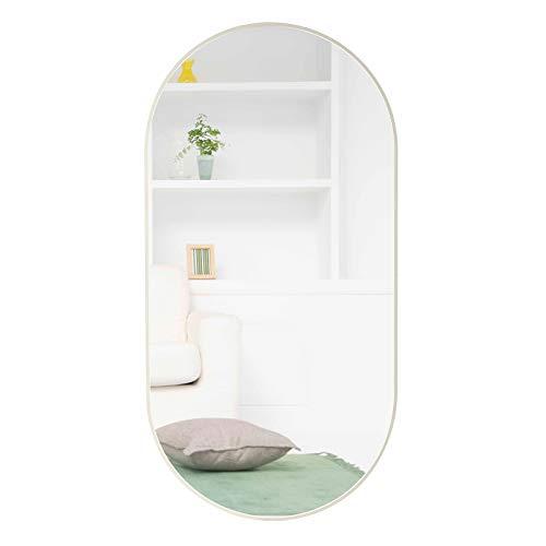 Egleson Groß Spiegel mit Metallrahmen 50x100cm Ovaler Wandspiegel Weiß Rund Ganzkörperspiegel Gewölbt Hängespiegel Lehnspiegel für Wohn-, Bad-, Kinder- Order Schlafzimmer