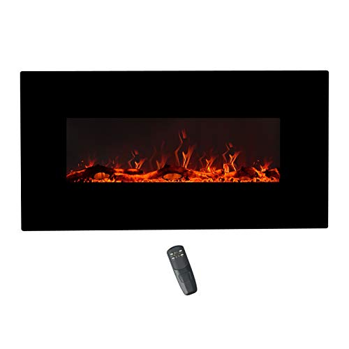 FLAME&SHADE 42 Inch Wide Electric Fireplace, Wall Mounted or Freestanding Portable Room Heater with Infrared Remote, 1500/750w