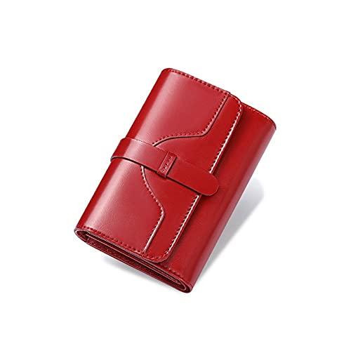 FEIHAIYANY Nsqb Monederos para mujer de piel auténtica para mujer, monedero corto antirrobo, monedero para mujer a la moda (color: rojo)