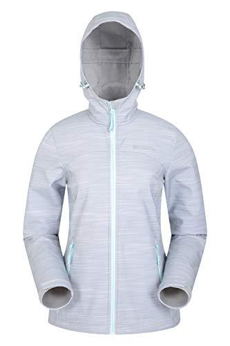 Mountain Warehouse Exodus Wasserabweisende Softshell-Damenjacke - atmungsaktive Regenjacke, länger im Rücken - großartig zum Spazierengehen, Reisen, Wandern, Frühling Grau 32