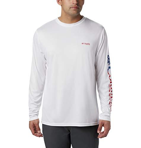Columbia Terminal Tackle T-Shirt à Manches Courtes pour Homme Taille XXL Blanc/étoiles et Rayures.