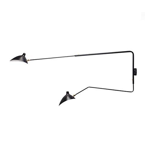 Industriële vintage wandlamp van retro-zwart-wit-dakvloer Franse roterende wandlampenhoofddecoratie -2_Arms_Black van de ontwerper