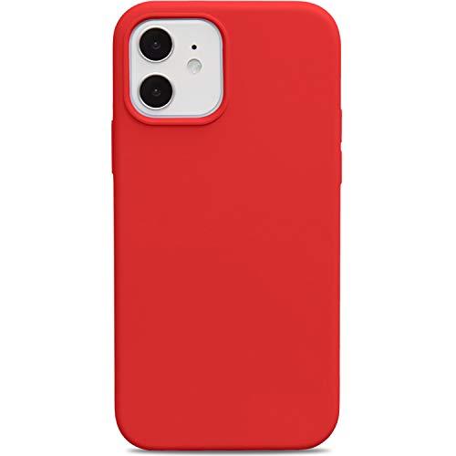 Oveo Funda para iPhone 12/12 Pro, Carcasa Silicona liquida, Rojo Roja