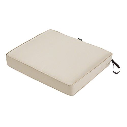 Classic Accessories Montlake FadeSafe Rectangular Patio Dining Seat Cushion - 3' Thick - Heavy Duty Outdoor Patio Cushion with Water Resistant Backing, Antique Beige, 21'W x 19D x 3T (62-009-BEIGE-EC)