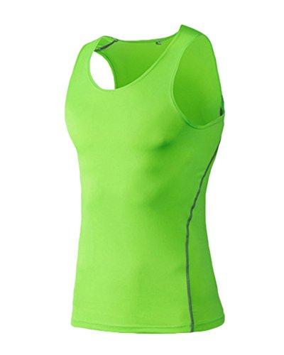 ZongSen T-Shirt sans Manches Gilet de Compression Fitness Hommes séchage Rapide entraînement Sportif Vert Fluorescent XXXL