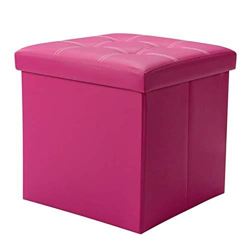 HTTDZ Quadratischer Aufbewahrungshocker, praktische Lederfußstütze, gepolsterte Sofabank - mit Deckel, Wohnzimmer, Schlafzimmer, Einzelhocker - klappbar (Color : Rose red)