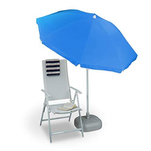 Relaxdays Ombrellone da Giardino, Spiaggia, Diametro 180cm, 8 Stecche, Poliestere, inclinabile, Blu