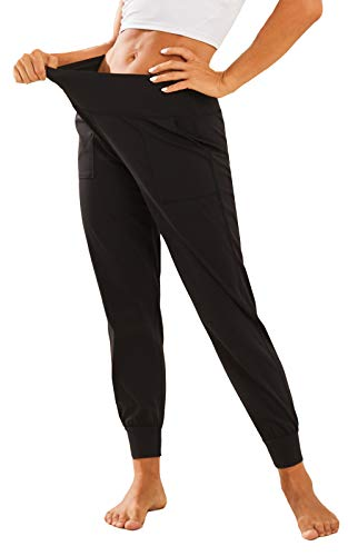 BATHRINS Women's High Waist Joggers Tapered Sweatpants Lightweight Running Yoga Sport Workout Pants Lounge Pants with Pockets (Large, Black)