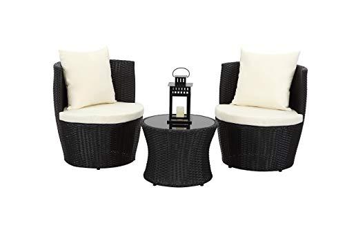 Esterno Living Morocco 3pc Black Stackable Rattan Bistro Set Compact Wicker Weatherproof Garden Set Seat